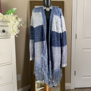 Lucky Brand Blue Knit Fringe Cardigan Small